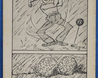 Don't Play Golf In Rain Get Your Balls Wet Risque Art Comic Risque Postcard Sized Print