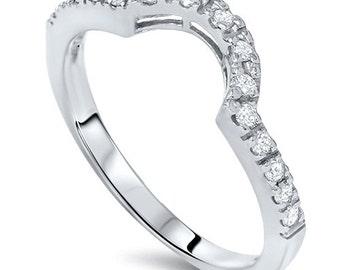 Diamond .25CT Curved Notched Wedding Ring Enhancer 14K White Gold