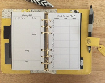 Meal Planner/Grocery List Printed Personal Size Planner Insert
