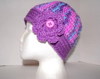 purple messy bun hat, girls ponytail hat, ladies beanie