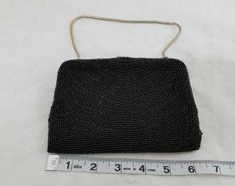 Vintage Beaded Evening Purse Black Scallop Clutch Bag Dena of Dallas