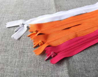 "SALE Sewing Support - Invisible Nylon Zippers, White, Orange and Watermelon Pink Pack Set Z06(4PCS, 5.5"" 7"")"