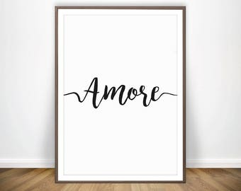 AMORE * Love Wall Art Typography Love Printable Love Decor Bedroom Wall Decor Italian Art Printable Scandinavian Art Affiche Scandinave