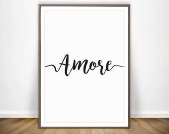 AMORE * Love Wall Art Typography Love Printable Love Decor Bedroom Wall  Decor Italian Art Printable