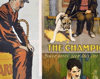 6 Charlie Chaplin Movie Posters in PNG