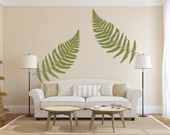 Removable vinyl wall decals words for home by householdwords fern wall decal large leaf decals vinyl wall decal leaves botanical wall decor teraionfo