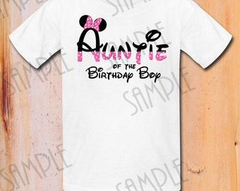 INSTANT DOWNLOAD Disney Minnie Mouse iron on transfer, Auntie Minnie Mouse Birthday Party Printable, Birthday shirt, Matching family shirts