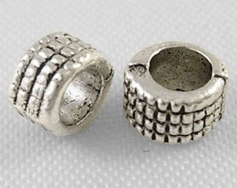 Tibetan silver spacer beads, 2.5mm hole,antique silver, 25 pieces