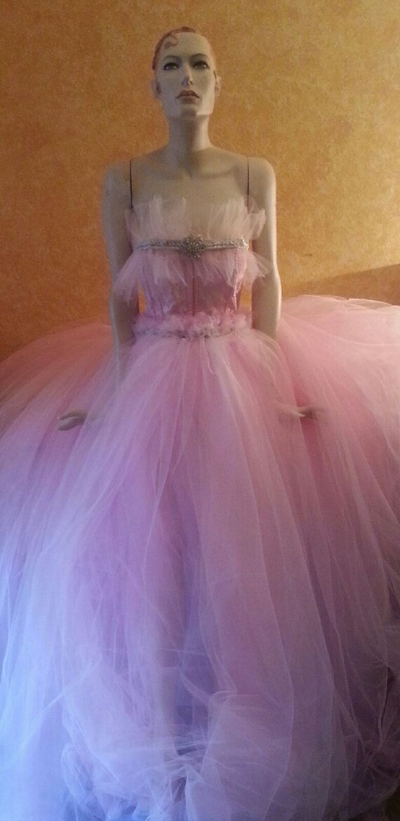 Dance Flutter Gown Tutu Ballgown Wedding Goddess Bridal Crystal Corset Tulle Sample Belly Pink Party RUxwW7