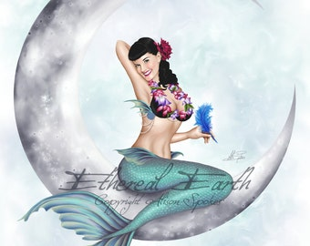 Pinup Mermaid Miss Mandolin Moon - 9x12 Limited Edition Art Print