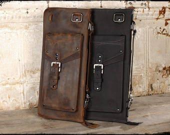 The Seville Full Grain Leather Drum Stick Bag, Carbon Black
