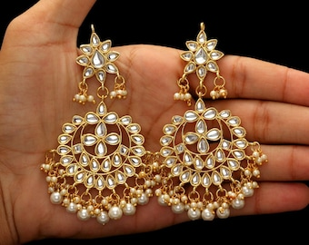 Chandbali Earrings/Indian Jewelry/Kundan Jewelry/Bridal Jewelry/Designer Earrings/Ethnic Earrings