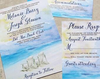 Watercolor Beach Destination Wedding Invitation Set. Beach Watercolor wedding invitation. Beach Destination Watercolor Wedding
