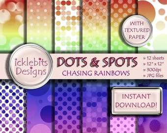 "Dots and Spots - Rainbow Gradient Digital Scrapbooking TEXTURED Paper Pack ""CHASING RAINBOWS"" 12x12"", 12 sheets, polka dot paper, #Design7"