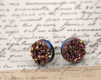 Faux Druzy Stud Earrings, Pink and Gold Glitter on Black, 10mm Faux Druzy Posts