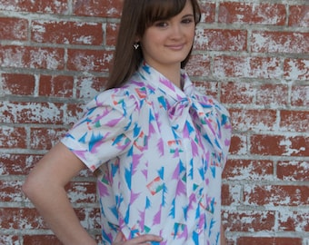 Original 50's Blouse with Bow Tie Collar & Paint Brush Strokes of Color By Shirley