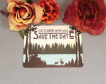 Rustic Mountain Lake with Deer Save the Date Postcards