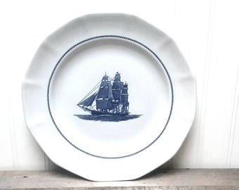 """Wedgwood """"Georgetown Collection"""" American Clipper Dinner Plates set of three Blue and White Nautical dishes made in England"""