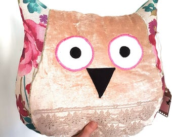 Meet Emma. The Pink Owl Cushion / Soft Toy Owl Pillow, Owl Toy, Animal Cushion, FREE SHIPPING