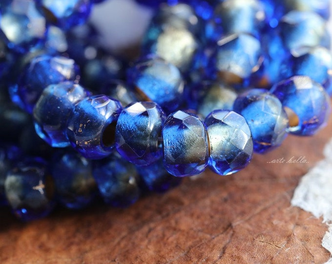 SAPPHIRE ROLLERS .. 10 Premium Picasso Czech Glass Large Hole Roller Beads 6x9mm (4965-10)