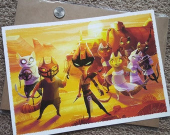 """Mad Max: Furry Road with Purriosa Furiosa, Nux and the Brides 9x13"""" fine art print"""