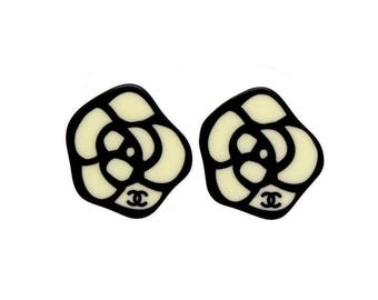 Authentic Vintage Chanel earrings plastic camellia ea1409