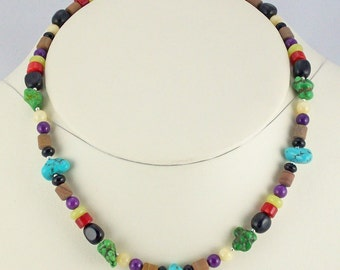 Necklace of Turquoise,Coral,Jades,Onyx,and Picture Jasper Rainbow of Stone Beads