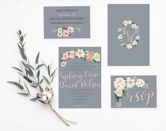 Blush Floral on Gray Invitation + RSVP Card