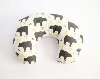 Nursing Pillow Cover: Triangle Bear. Bear Nursing Pillow. Gender Neutral Nursing Pillow Cover. Nursing Pillow Cover