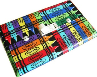 CRAYONS Light Switch Cover Plate Switchplate Kids Bedroom Decor