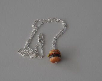 "Necklace ""cheeseburgere hamburgere"" polimere gift polymer clay"