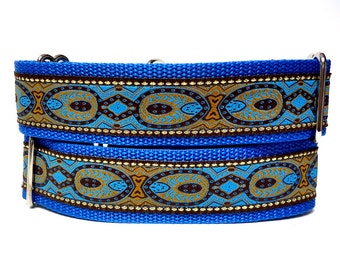 Martingale Dog Collar or Tag / Buckle Dog Collar THE EMPERORS Blue, Safety Collar, Greyhound Collar, Sighthound Collar, Adjustable