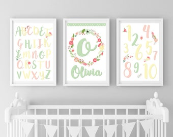 Personalized Boho Nursery Set, Boho Nursery, Girl Boho Nursery, Woodland Nursery Decor, Baby Girl Woodland Nursery, Woodland Boho Nursery