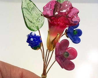 Pink and Green, and Blue Lampwork Headpin Bouquet. Set of six headpins.