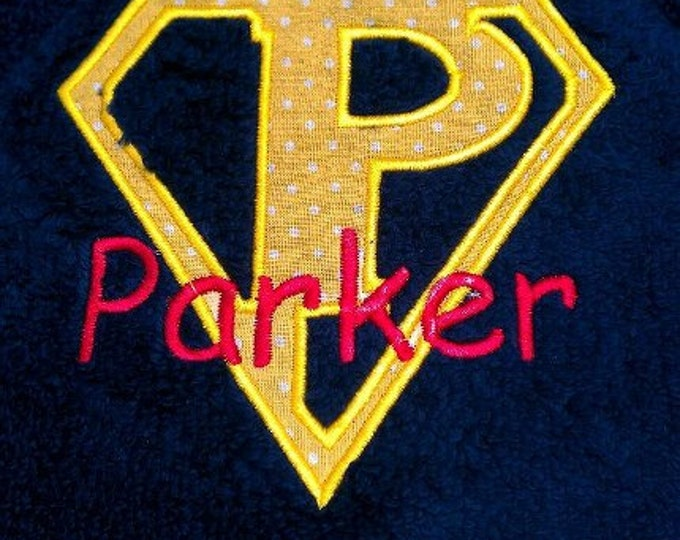 Personalized Super Hero Hooded Towel Custom Letter for Pool or Beach