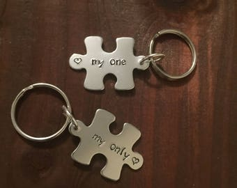 My One My Only Puzzle Keychain- Puzzle Keyring- Aluminum Puzzle Piece- My One My Only Keyring