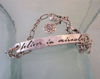 Handcrafted Silver Believe in Miracles Inspirational Bracelet