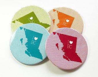 I Love BC Coasters, Drink Coasters, BC Coasters, Coasters, BC Map Coaster, Chevron, British Columbia, Souvenir, Housewarming Gift (5066b)