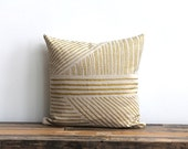Karnataka pillow cover in metallic ink hand printed on Natural Ecru organic hemp 20x20