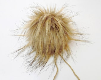 Size M ( light brown flecked )faux fur pom pom 4.5 inches/ 11cm