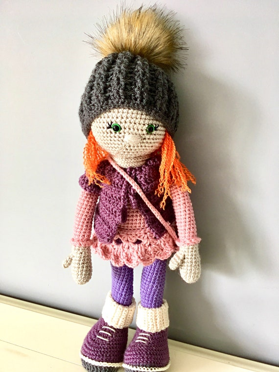 Crochet amigurumi doll with clothes and bag. Unique gift for a girl, one of a kind kids decor stuffed doll  natural toys dolls purple doll