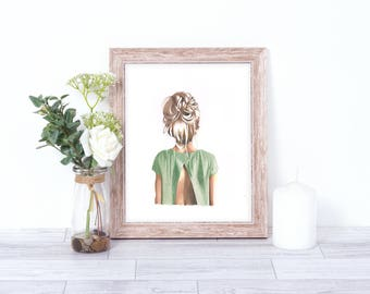 A5-A4 Illustration print art hair style green blonde girl home decor drawing teenage child gift
