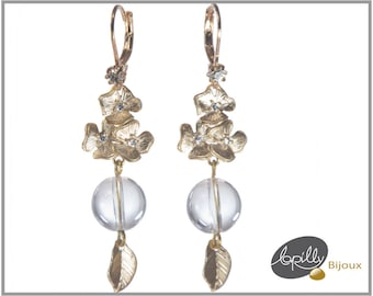 Earrings rock crystal, semiprecious stone, flower, leaf, golden, strass, white, tranparent