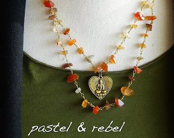 Bohemian style red agate and antic gold Buddha