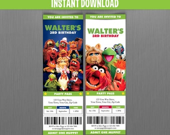 Muppets Birthday Ticket Invitations (Group) - Instant Download and Edit with Adobe Reader - Muppets Invitation - Muppets Birthday