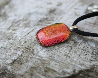 Red/Orange dichroic glass Necklace