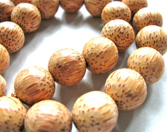 Coconut Palm wood beads, 14 beads, 15mm. tan with brown grain - #86