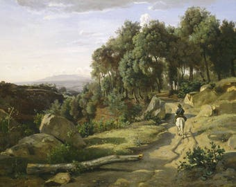 Jean-Baptiste-Camille Corot : A View Near Volterra (1838) Canvas Gallery Wrapped Giclee Wall Art Print (D45)