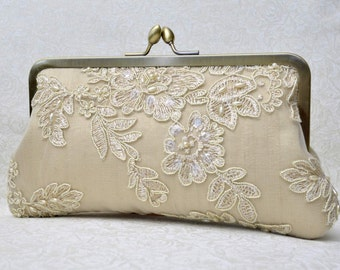 Champagne Lace Pearl Bridal Clutch, Gold Bridal Clutch, Ivory Formal Purse, White Clutch, Lace Wedding {French Lace & Pearl Bridal Kisslock}