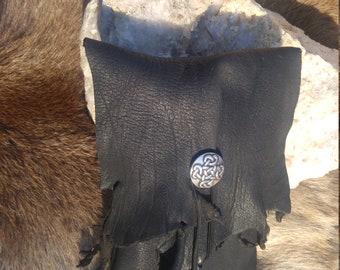Rich black deerskin tarot/rune/possibles bag or belt pouch